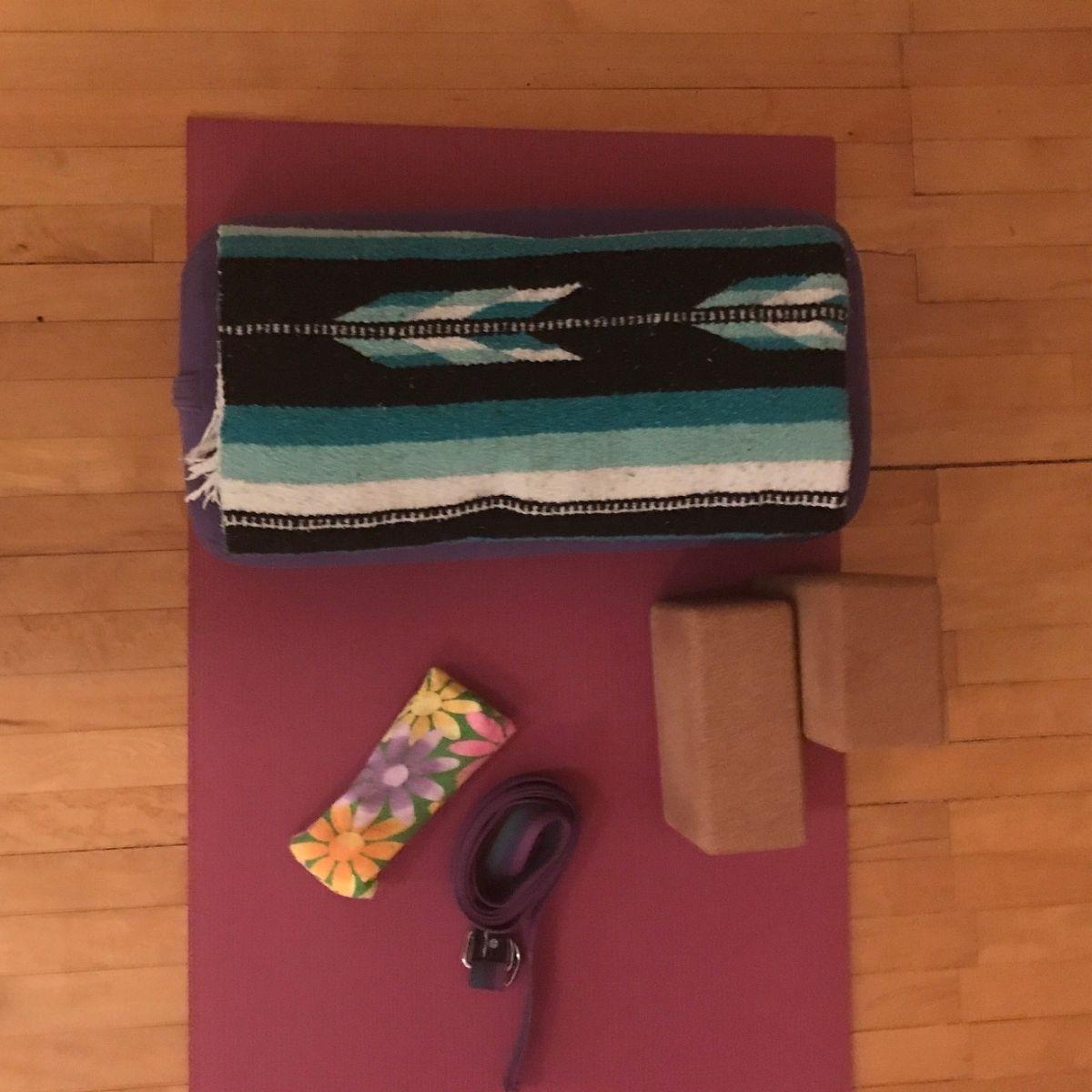 Pink Yoga Mat with blocks, strap, blanket, eye pillow
