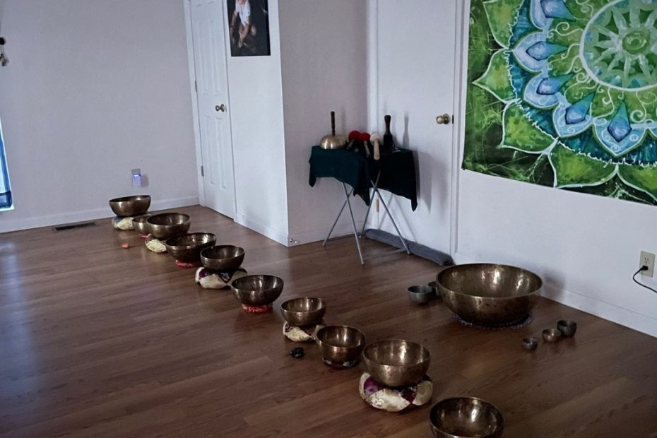 Healing Singing Bowls lined up on a studio floor