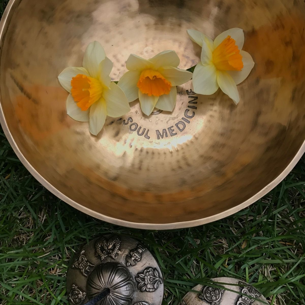Healing Singing Bowl with Three Daffodils and Tingshas